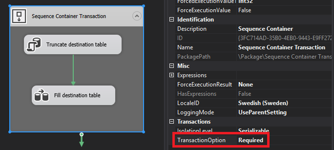 SSIS Transaction Properties